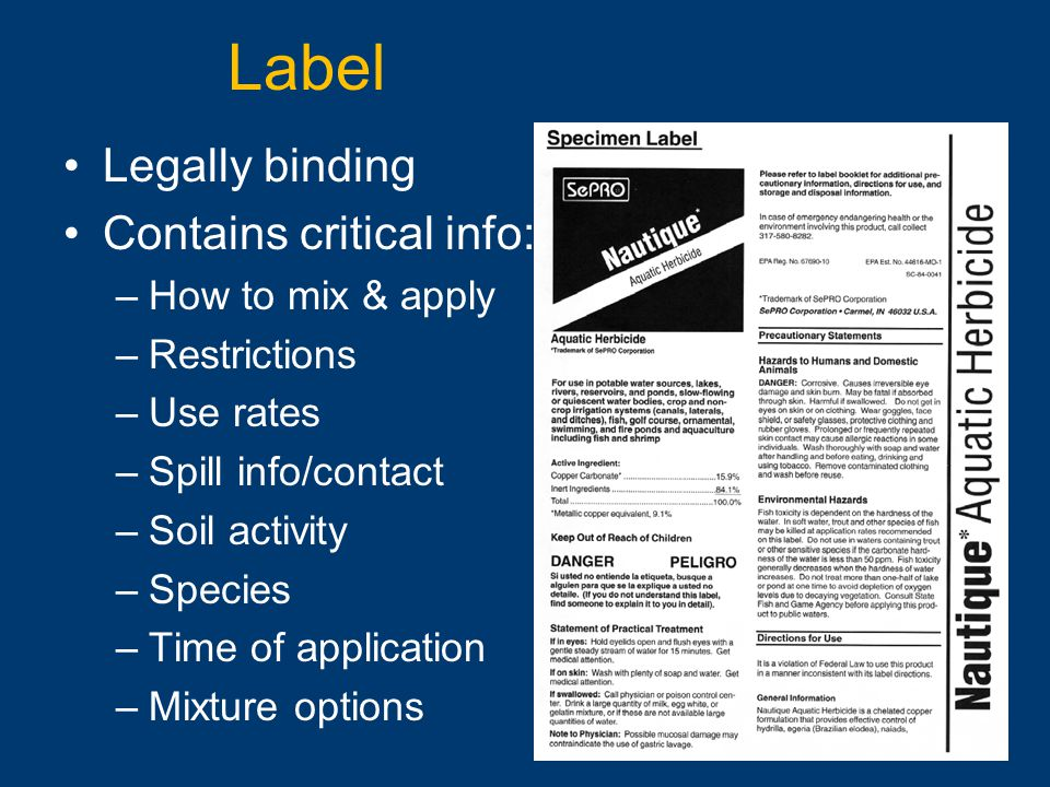 Label Legally binding Contains critical info: How to mix & apply