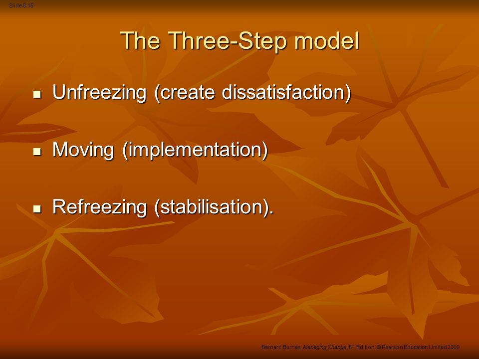 The Three-Step model Unfreezing (create dissatisfaction)