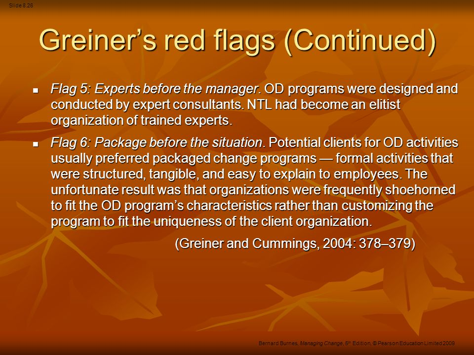 Greiner's red flags (Continued)