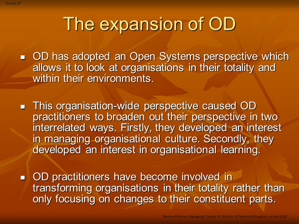 The expansion of OD