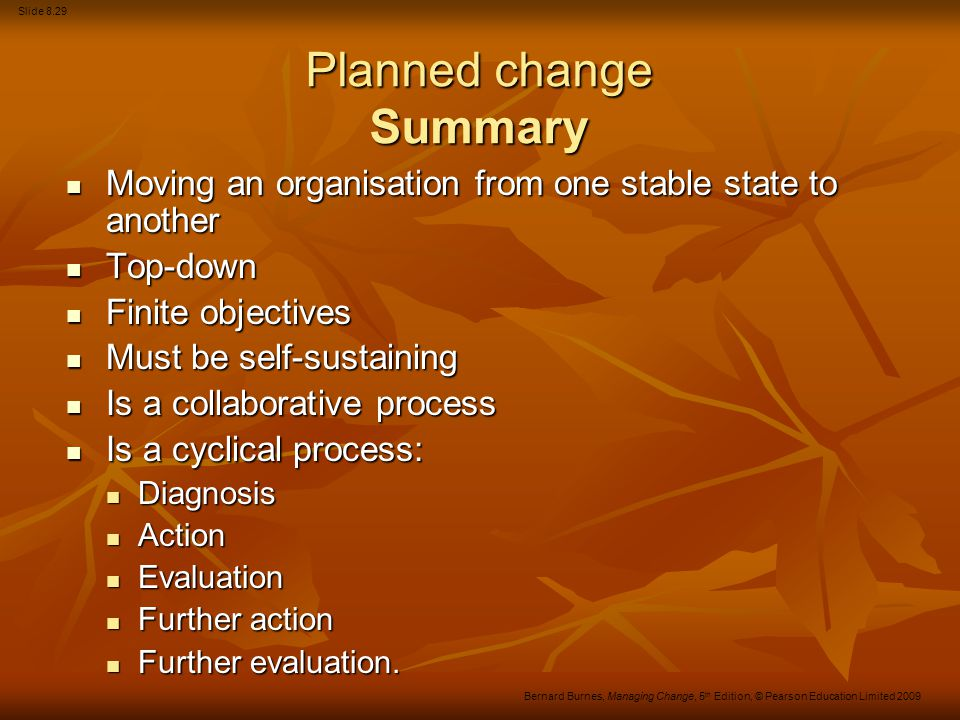 Planned change Summary