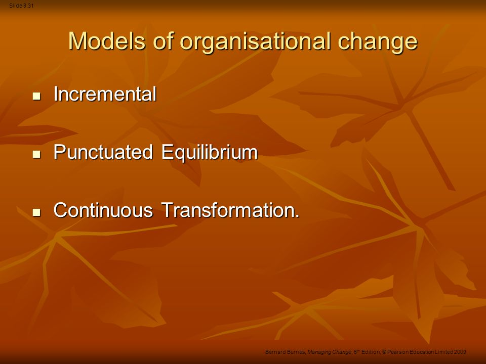 Models of organisational change