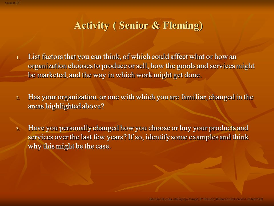 Activity ( Senior & Fleming)