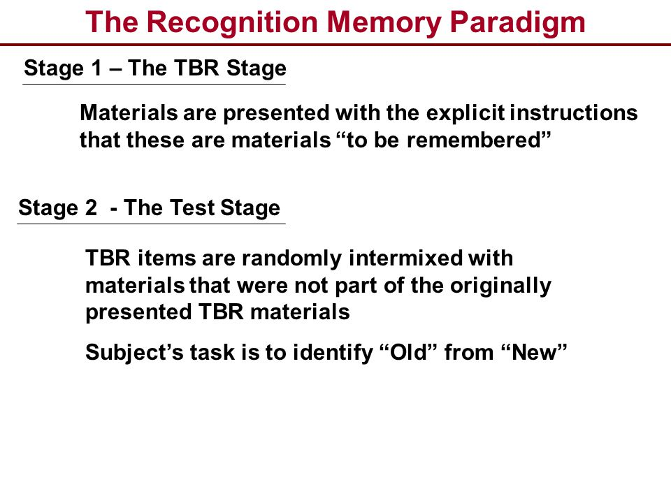 The Recognition Memory Paradigm