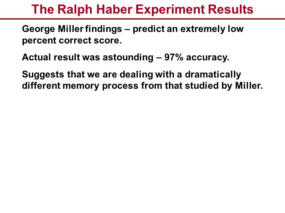 The Ralph Haber Experiment Results