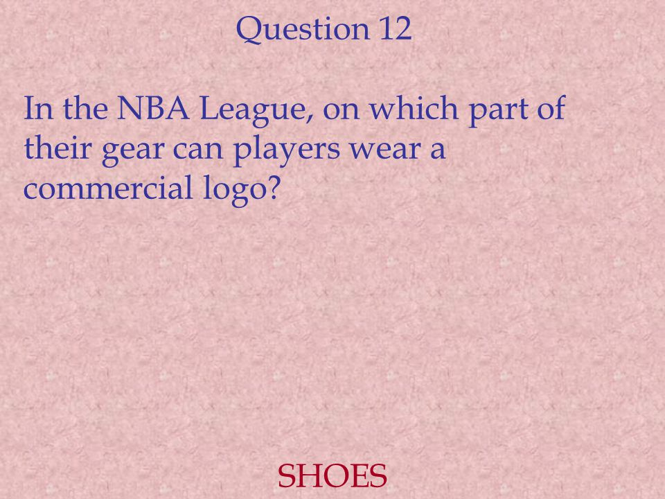 Question 12 In the NBA League, on which part of their gear can players wear a commercial logo.