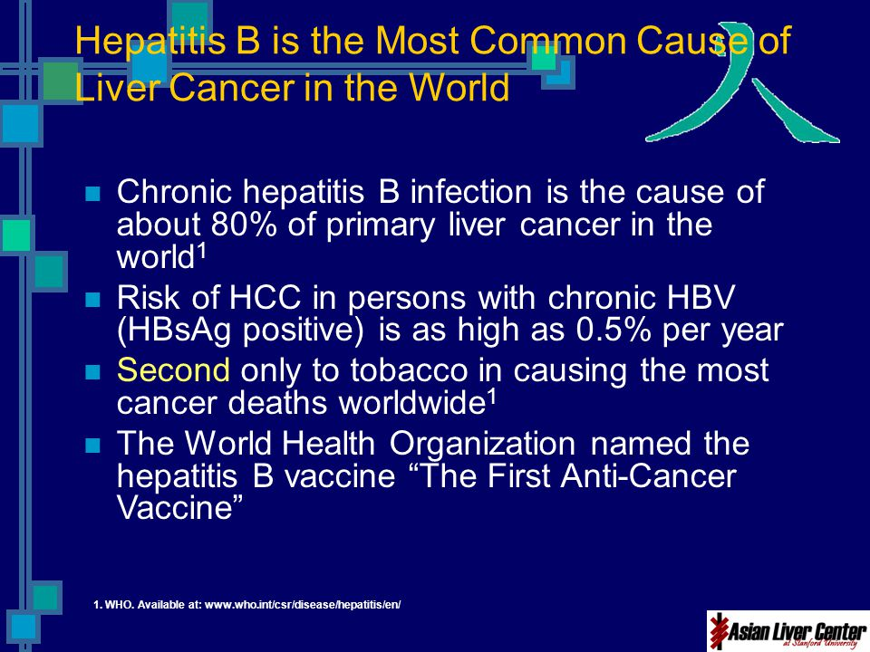 Hepatitis B is the Most Common Cause of Liver Cancer in the World