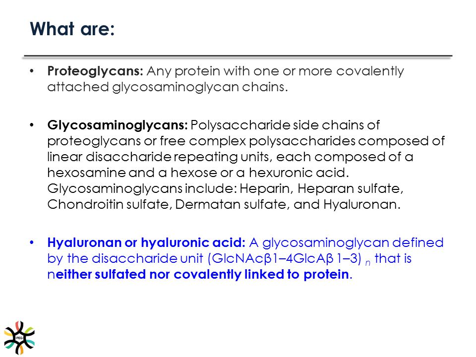 What are: Proteoglycans: Any protein with one or more covalently attached glycosaminoglycan chains.