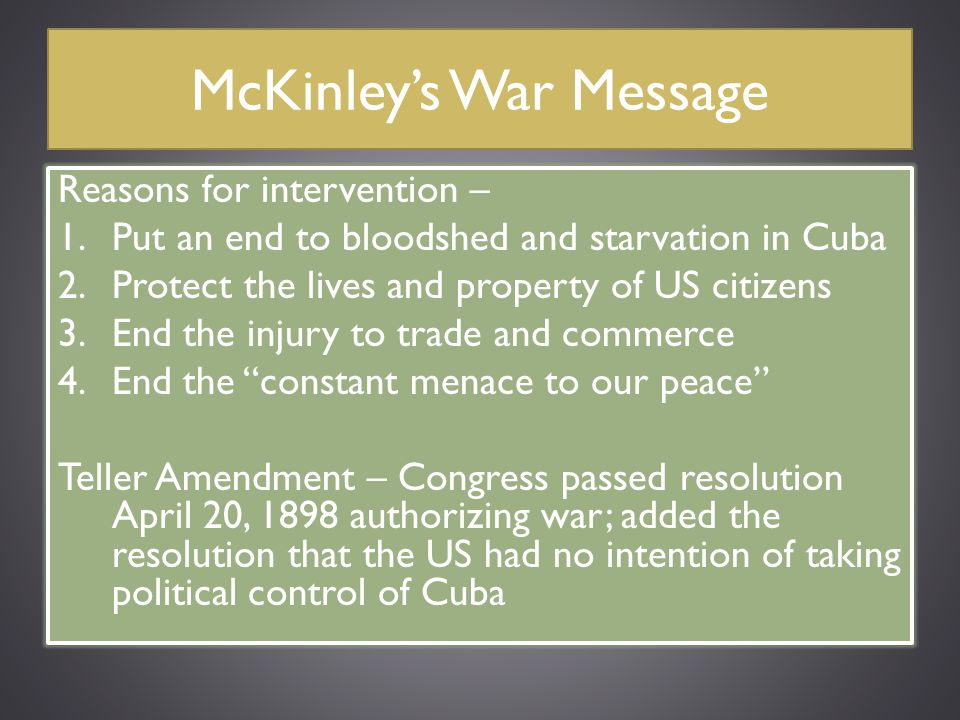 McKinley's War Message