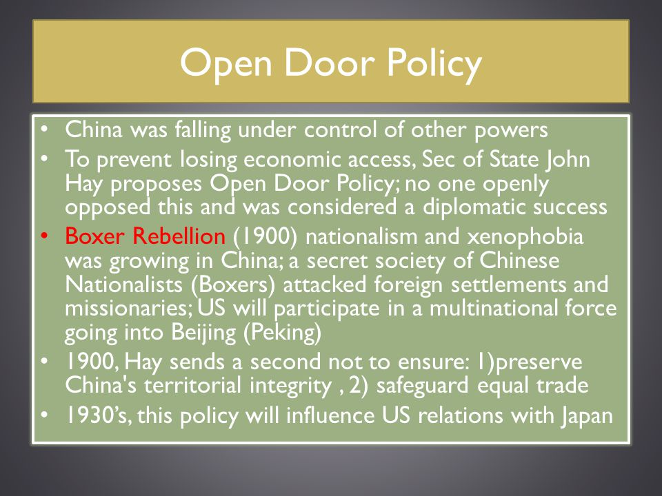 Open Door Policy China was falling under control of other powers