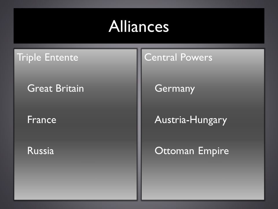 Alliances Triple Entente Great Britain France Russia