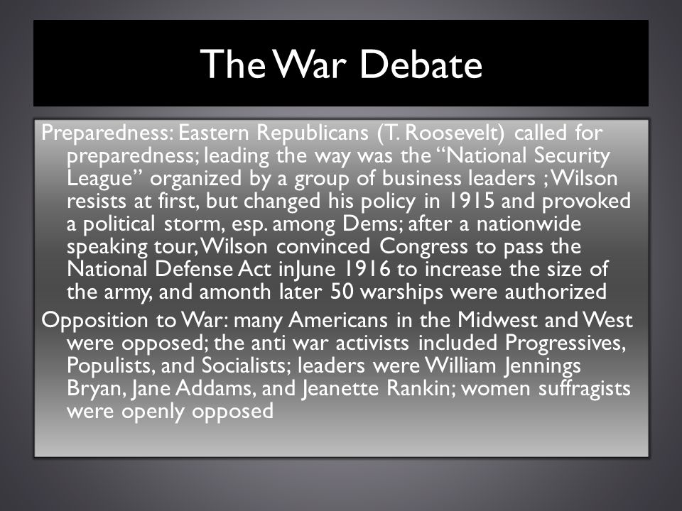 The War Debate