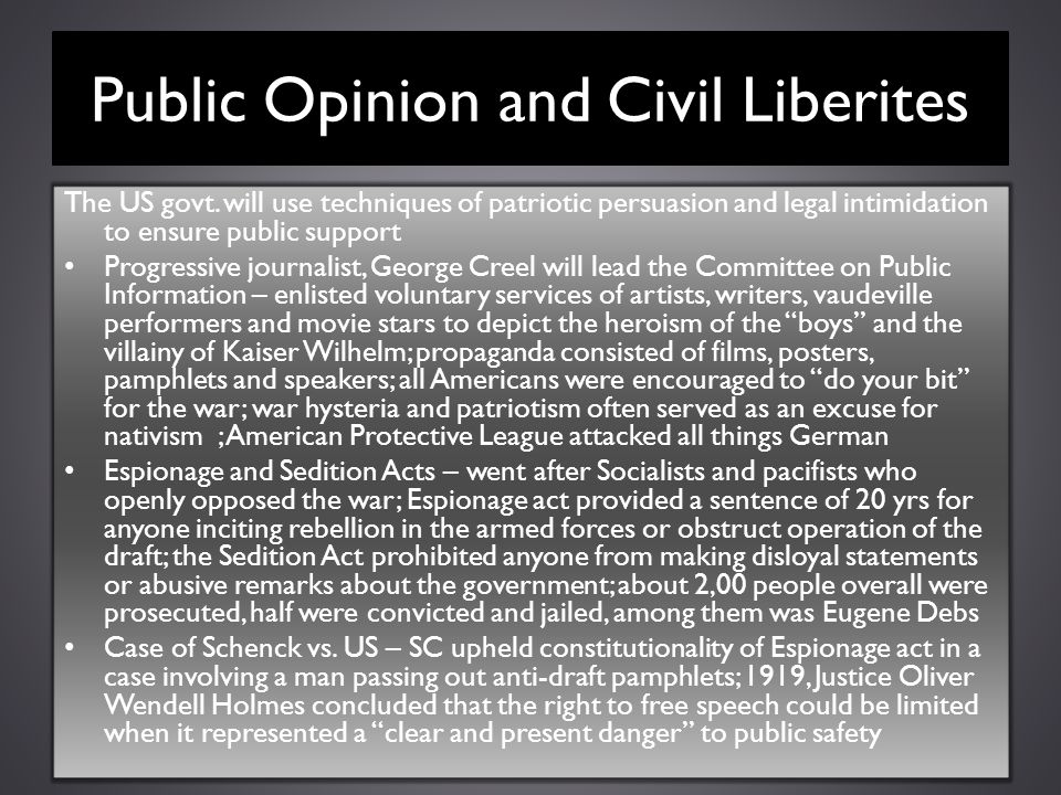 Public Opinion and Civil Liberites