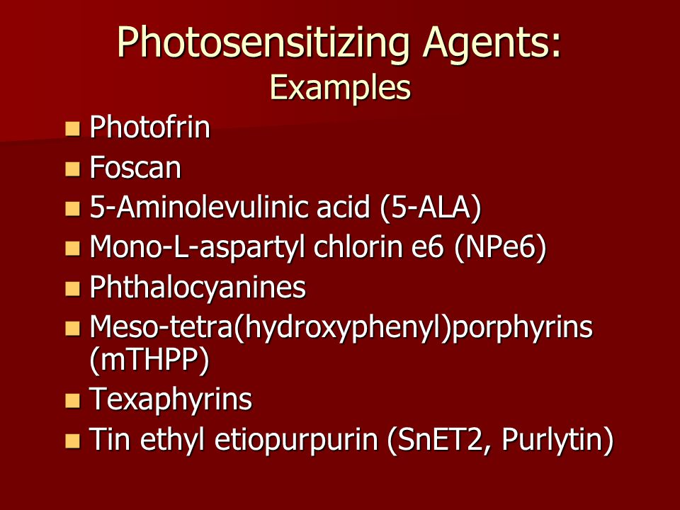 Photosensitizing Agents: Examples