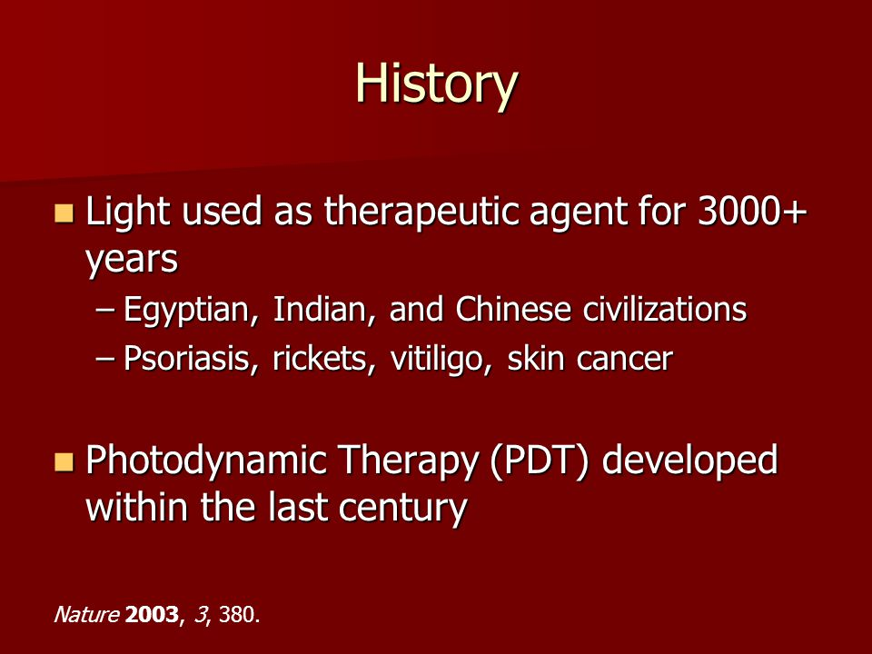 History Light used as therapeutic agent for 3000+ years