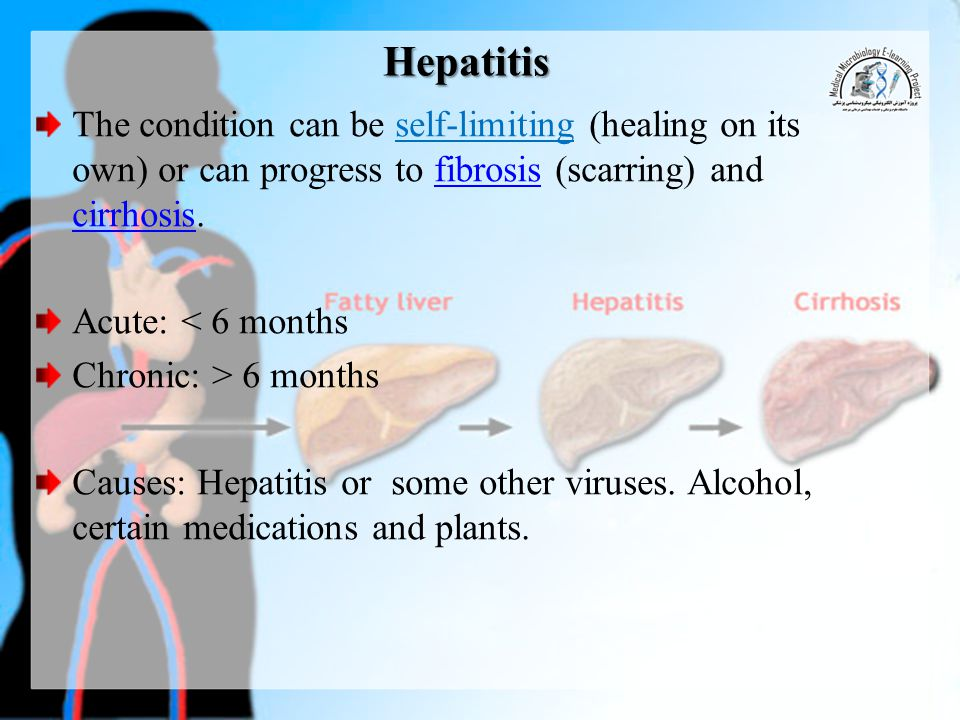 Hepatitis The condition can be self-limiting (healing on its own) or can progress to fibrosis (scarring) and cirrhosis.