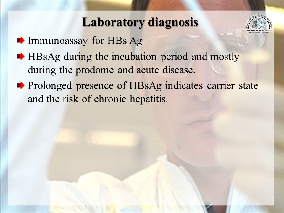 Laboratory diagnosis Immunoassay for HBs Ag