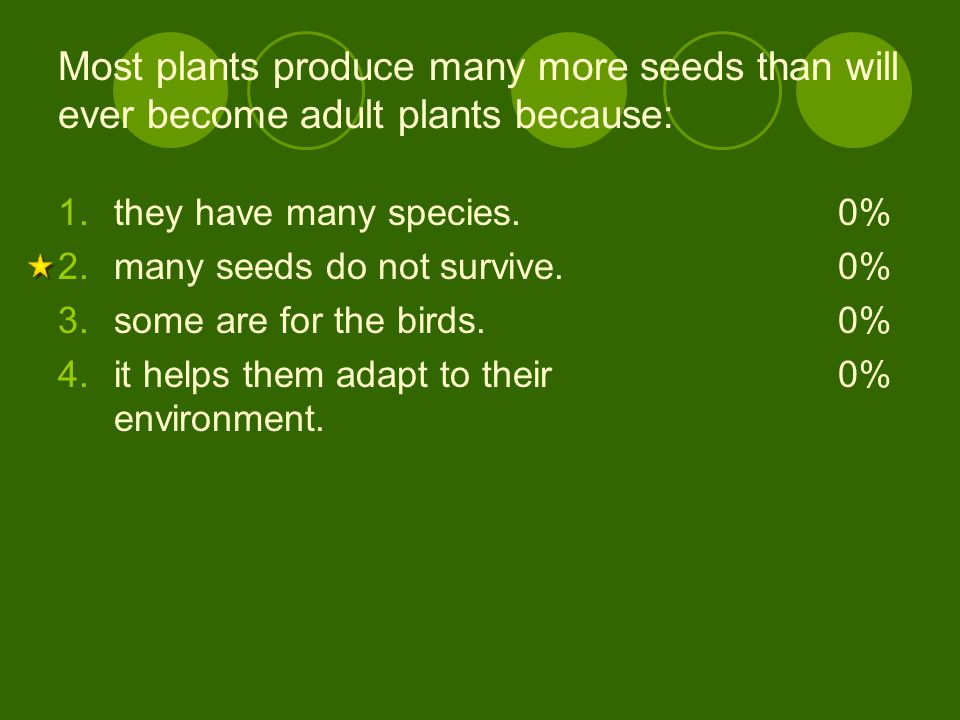 Most plants produce many more seeds than will ever become adult plants because: