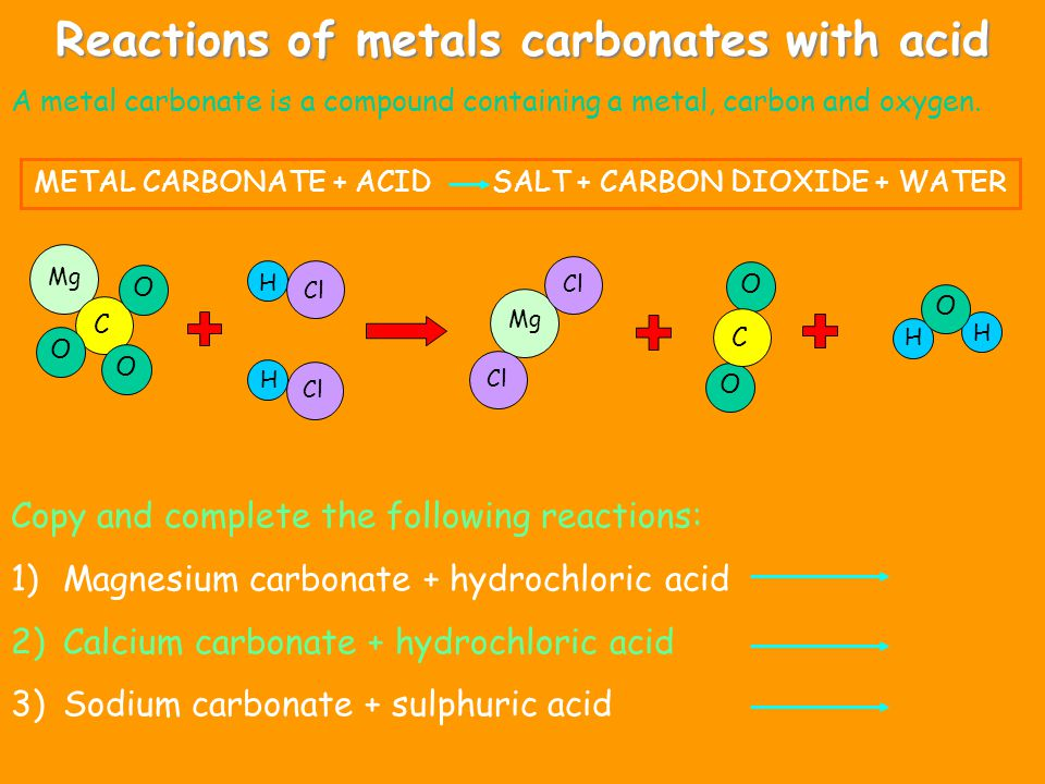 Reactions of metals carbonates with acid