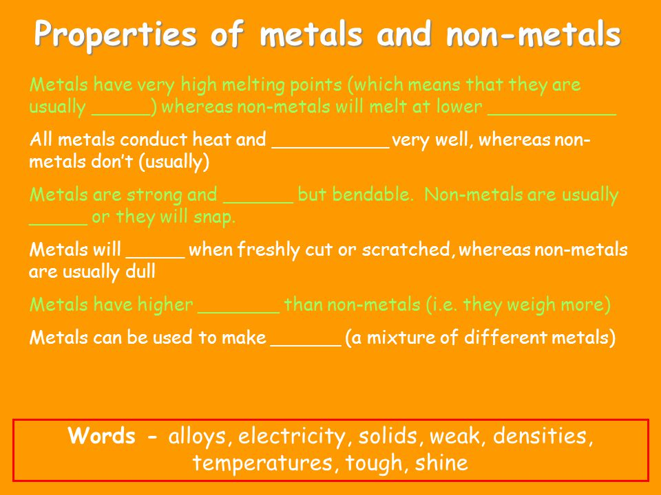 Properties of metals and non-metals