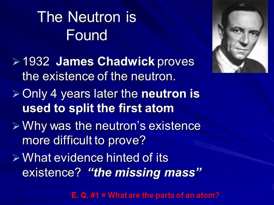 The Neutron is Found 1932 James Chadwick proves the existence of the neutron. Only 4 years later the neutron is used to split the first atom.