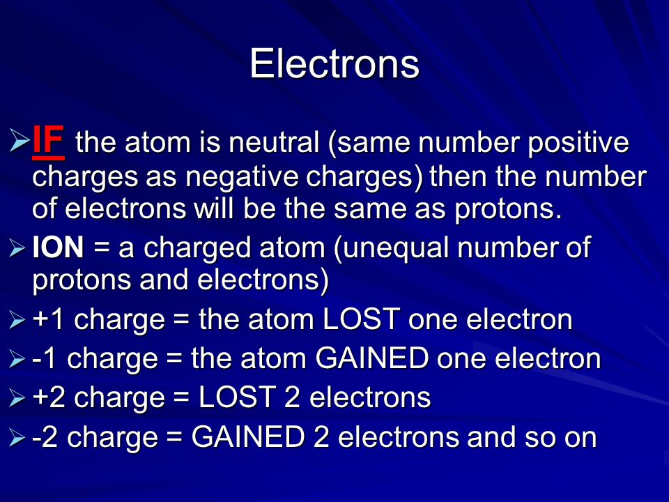 Electrons IF the atom is neutral (same number positive charges as negative charges) then the number of electrons will be the same as protons.