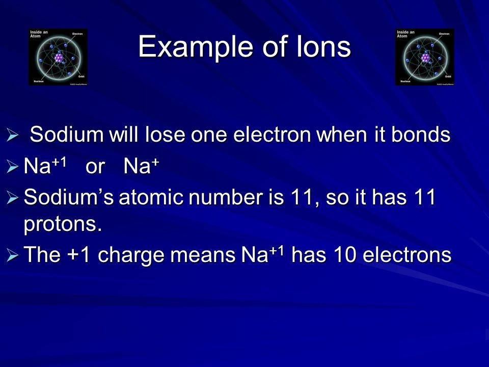 Example of Ions Sodium will lose one electron when it bonds