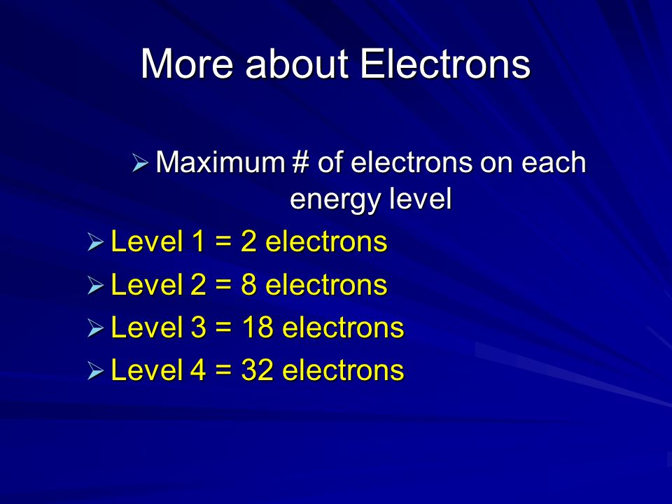 Maximum # of electrons on each energy level