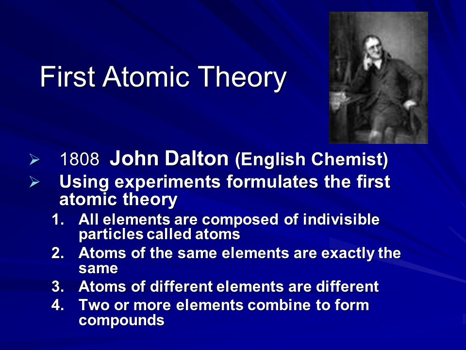 First Atomic Theory 1808 John Dalton (English Chemist)