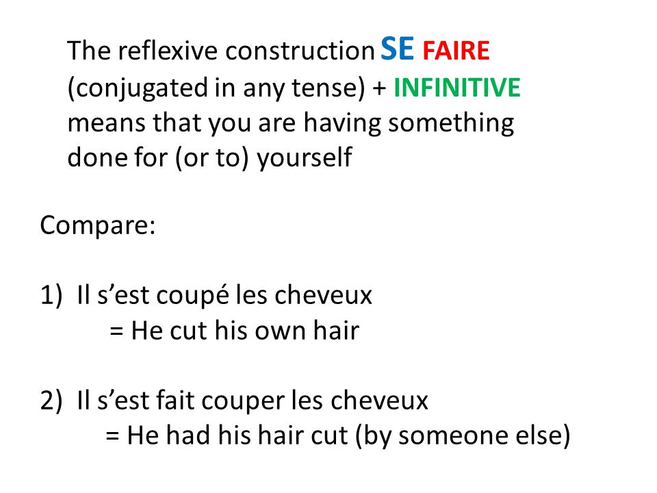 The reflexive construction SE FAIRE (conjugated in any tense) + INFINITIVE