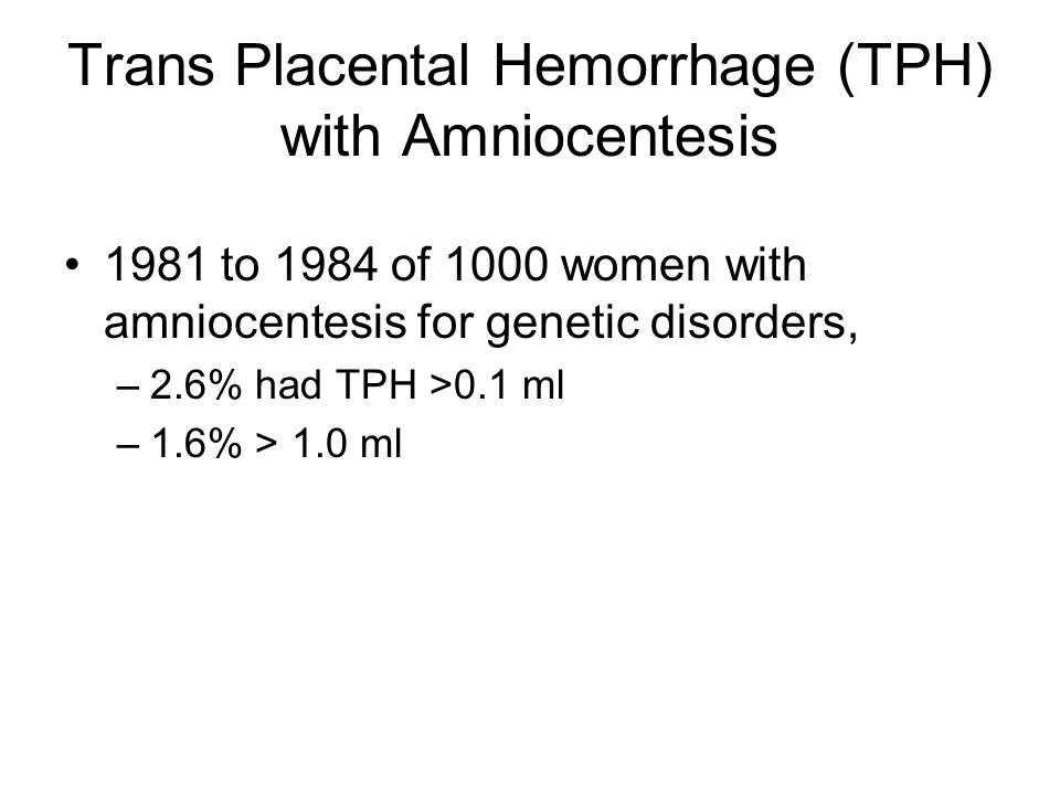 Trans Placental Hemorrhage (TPH) with Amniocentesis