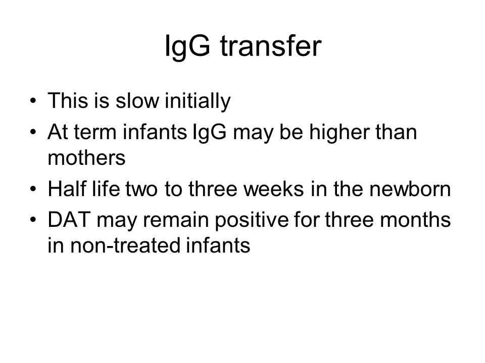 IgG transfer This is slow initially