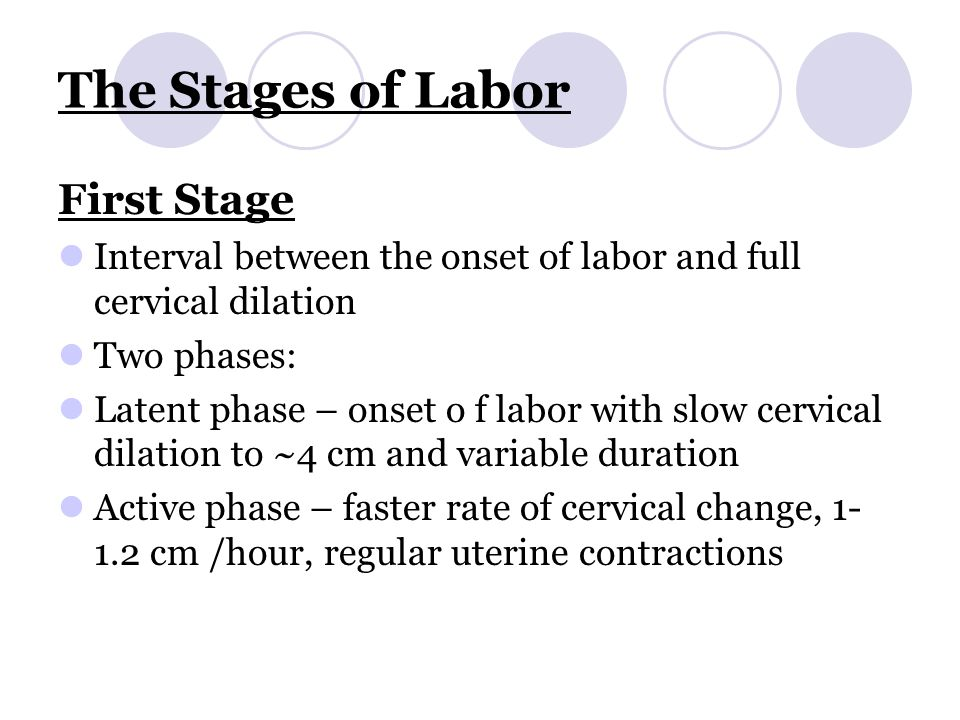 The Stages of Labor First Stage