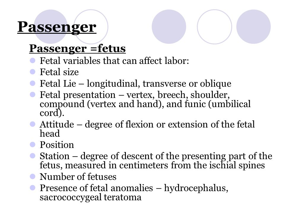 Passenger Passenger =fetus Fetal variables that can affect labor: