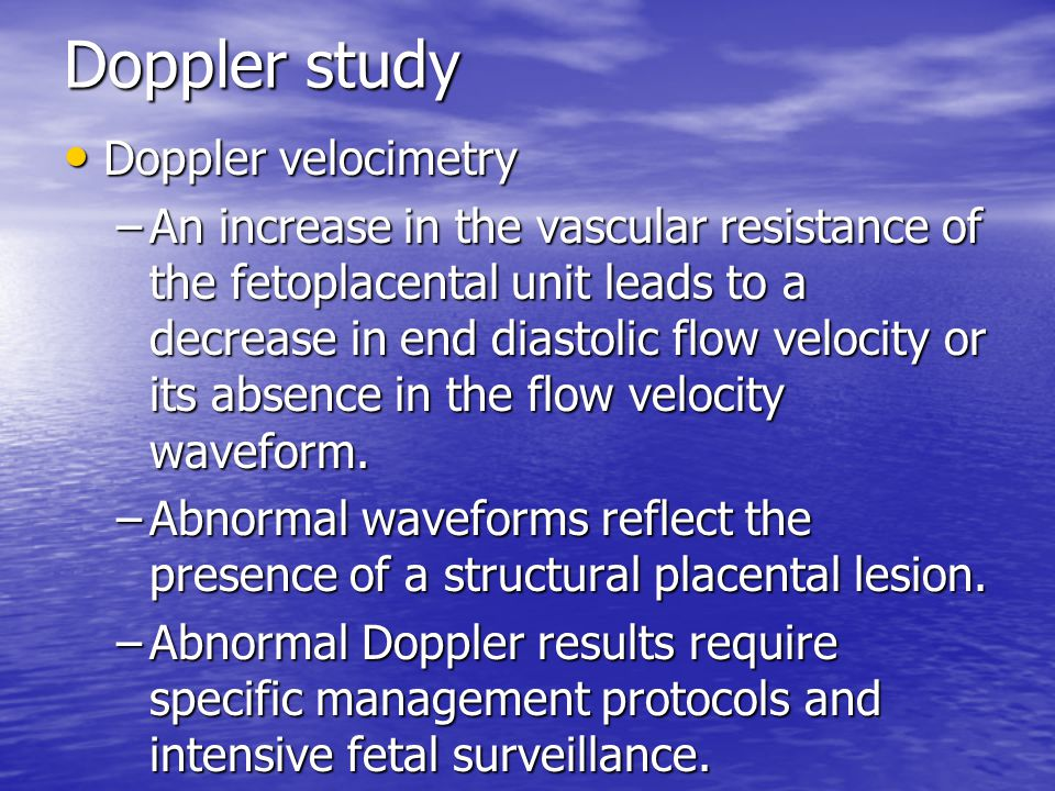 Doppler study Doppler velocimetry
