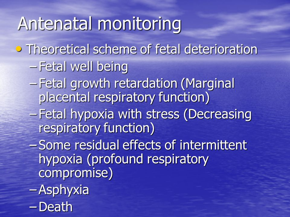 Antenatal monitoring Theoretical scheme of fetal deterioration