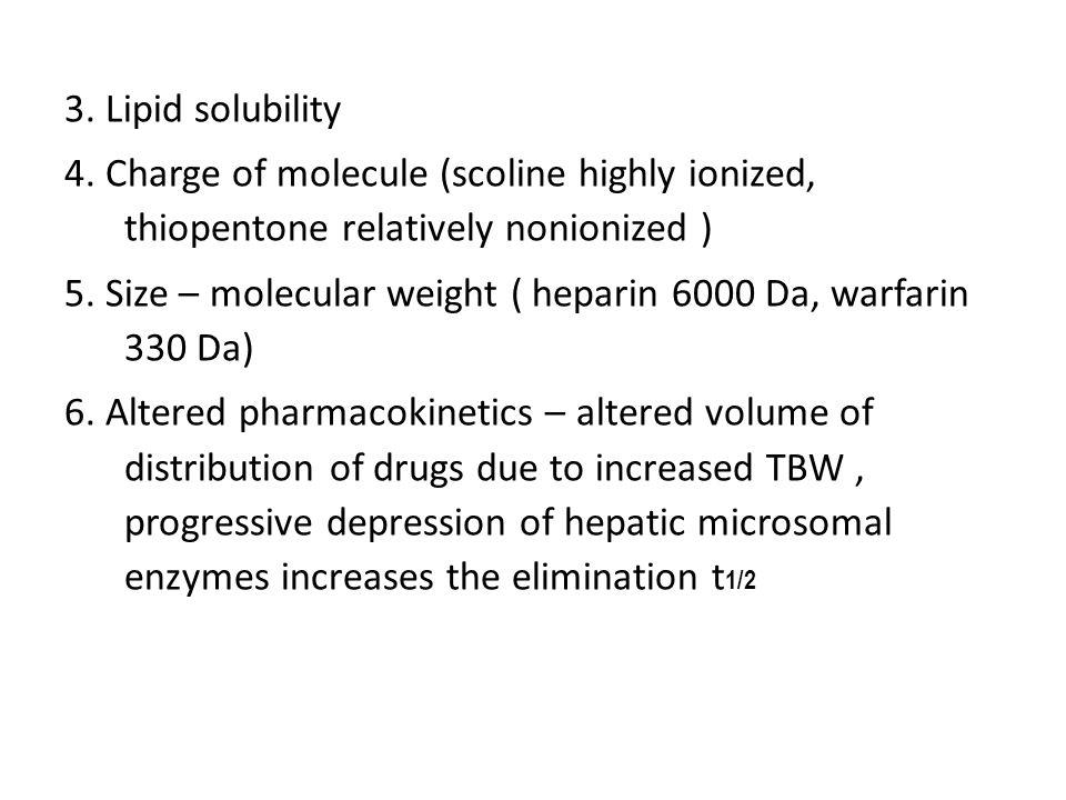3. Lipid solubility 4.