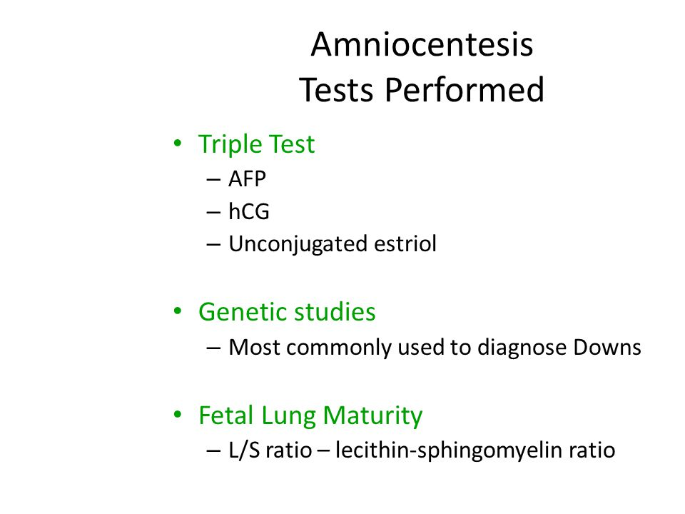 Amniocentesis Tests Performed