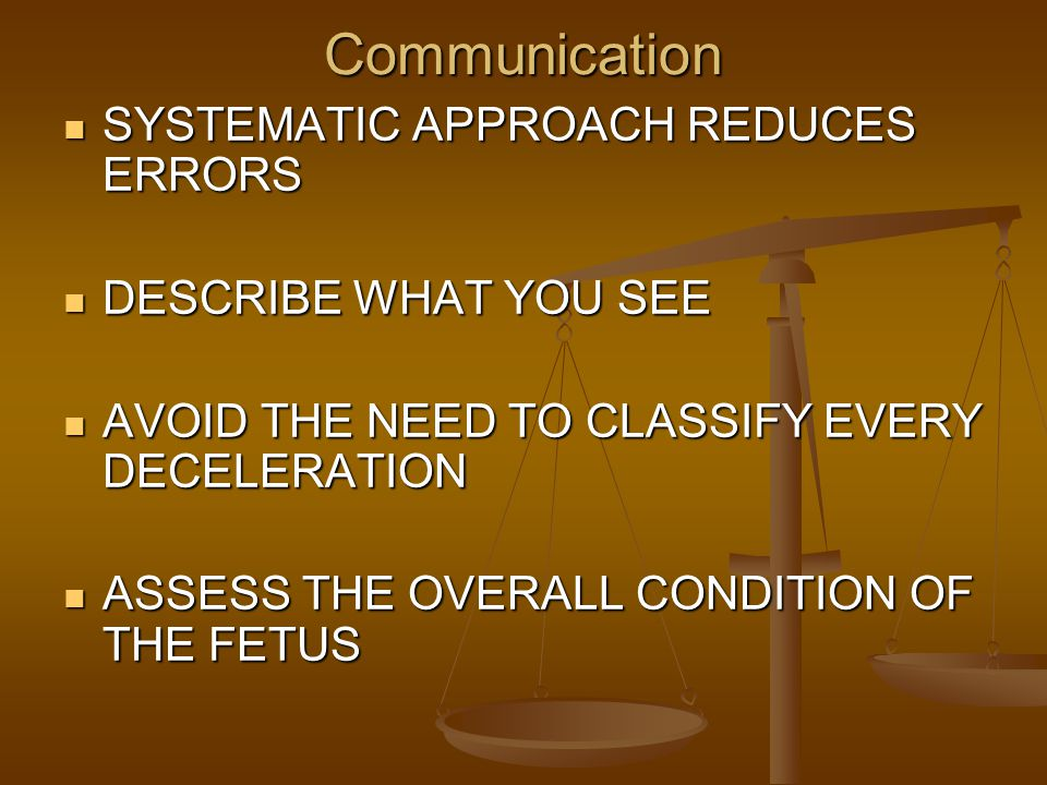 Communication SYSTEMATIC APPROACH REDUCES ERRORS DESCRIBE WHAT YOU SEE