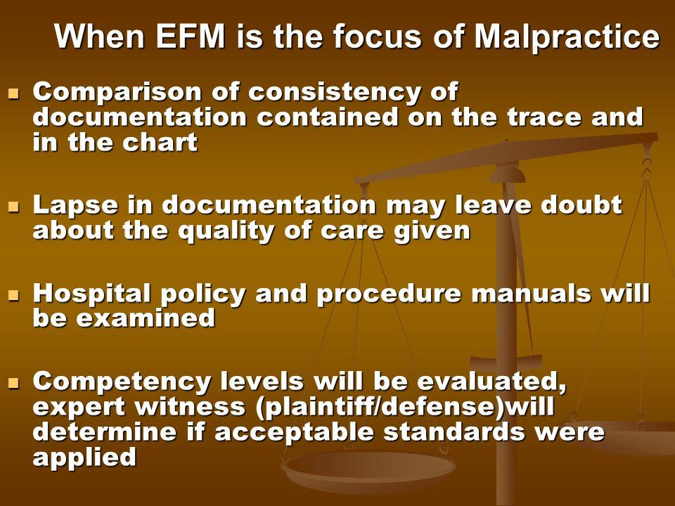 When EFM is the focus of Malpractice