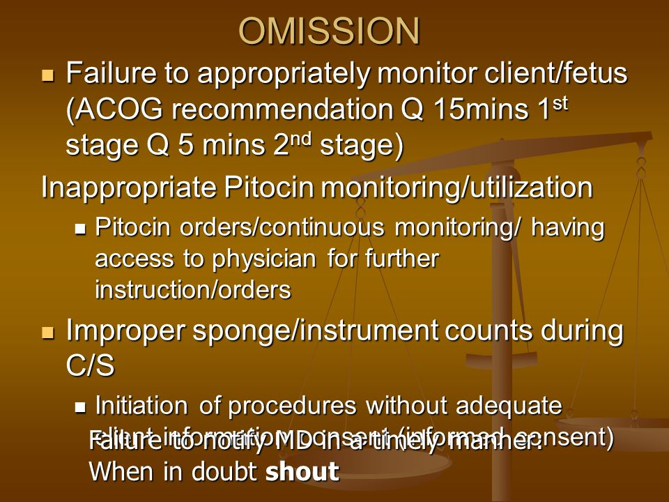 OMISSION Failure to appropriately monitor client/fetus (ACOG recommendation Q 15mins 1st stage Q 5 mins 2nd stage)
