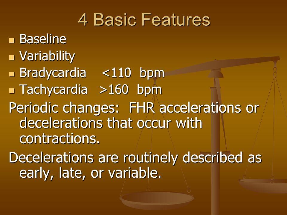 4 Basic Features Baseline. Variability. Bradycardia <110 bpm. Tachycardia >160 bpm.