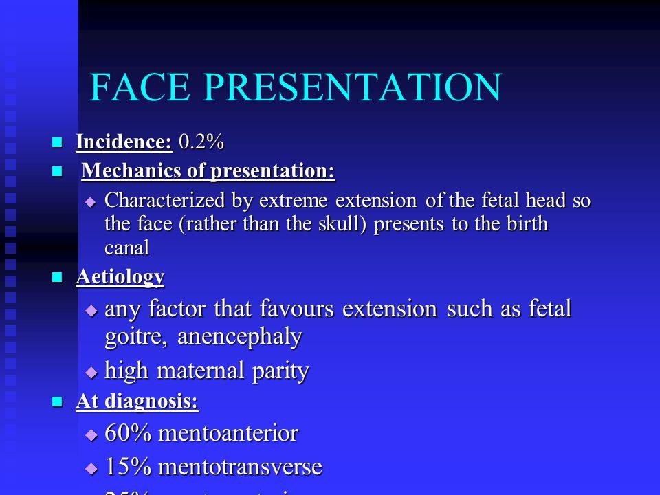 FACE PRESENTATION Incidence: 0.2% Mechanics of presentation: