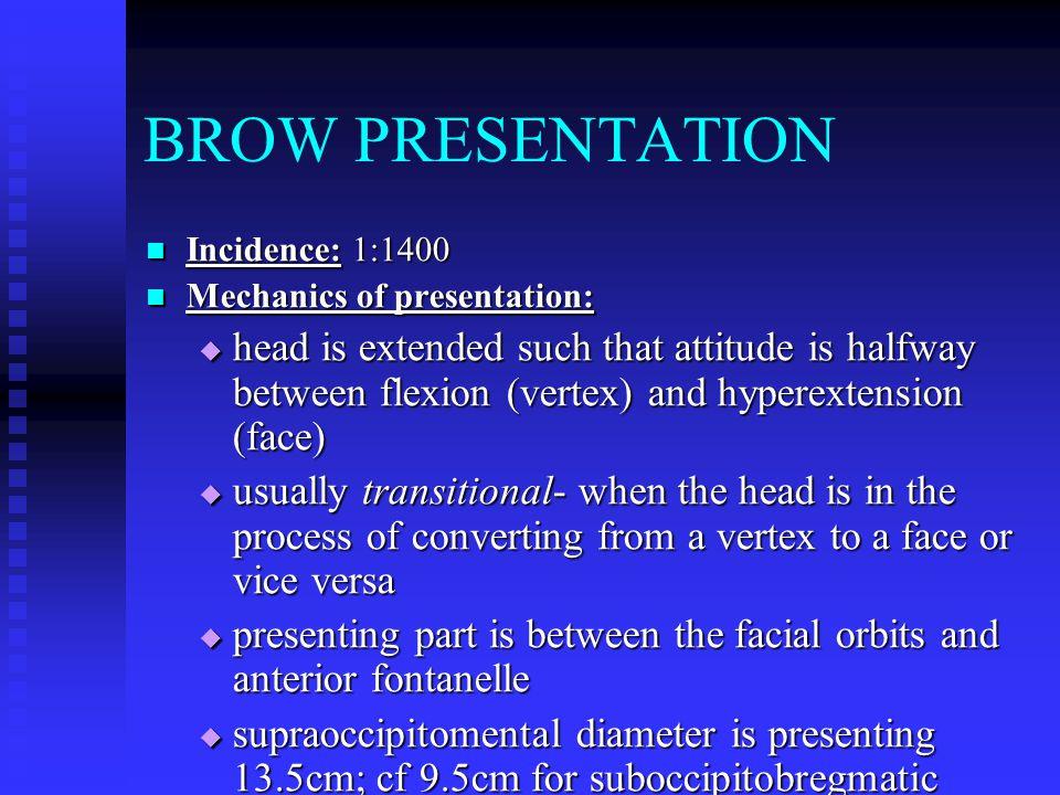 BROW PRESENTATION Incidence: 1:1400. Mechanics of presentation: