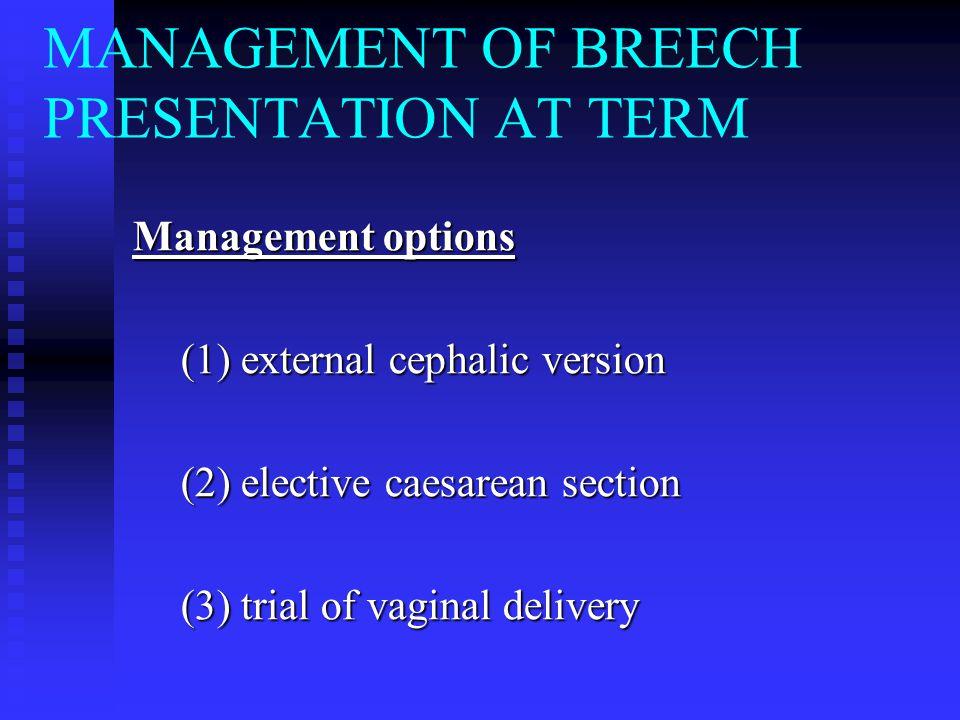 MANAGEMENT OF BREECH PRESENTATION AT TERM