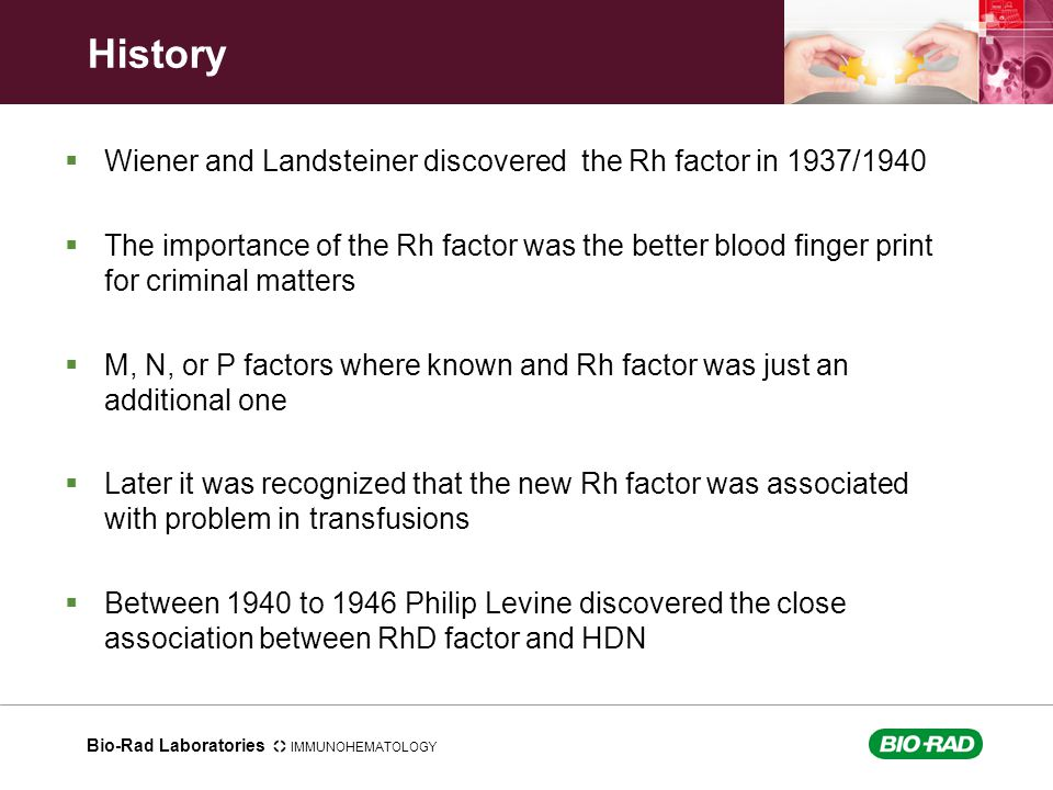 History Wiener and Landsteiner discovered the Rh factor in 1937/1940