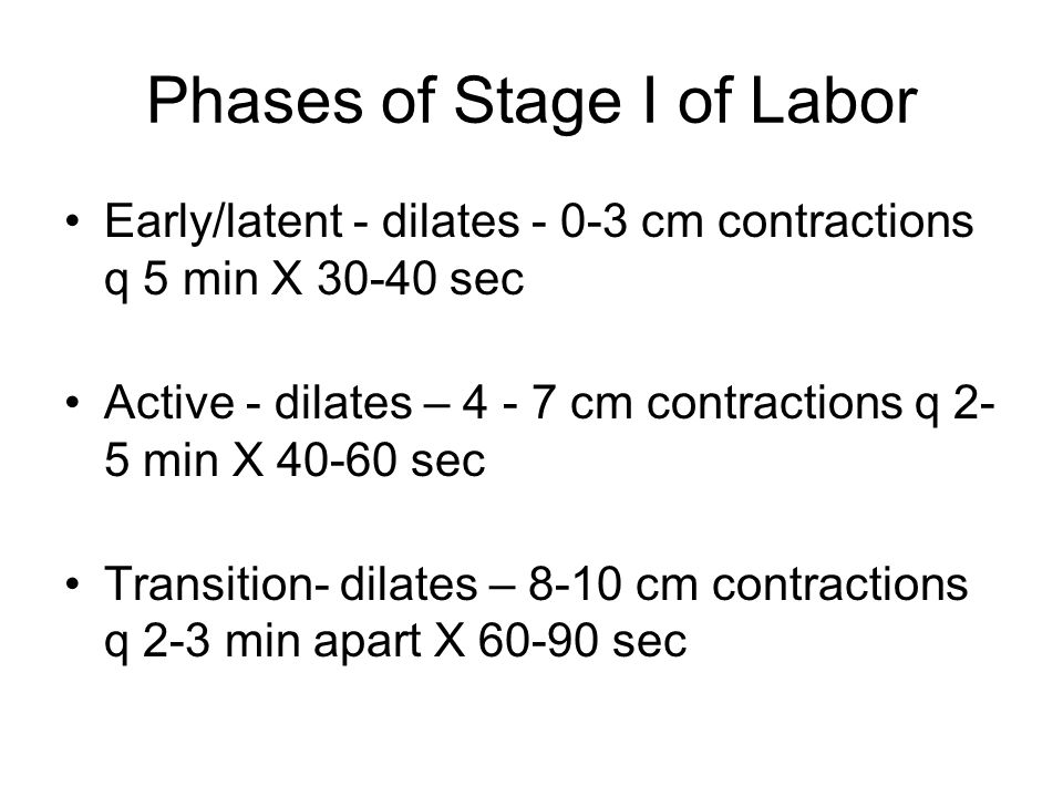 Phases of Stage I of Labor