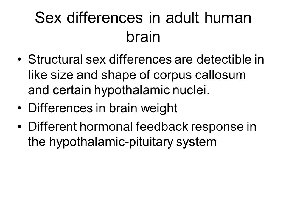 Sex differences in adult human brain