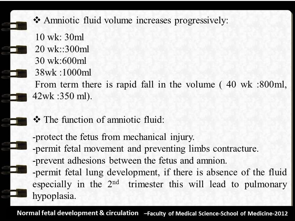 Amniotic fluid volume increases progressively: 10 wk: 30ml
