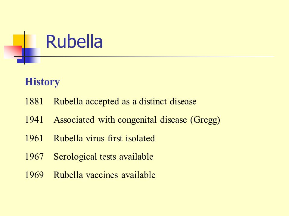 Rubella History 1881 Rubella accepted as a distinct disease
